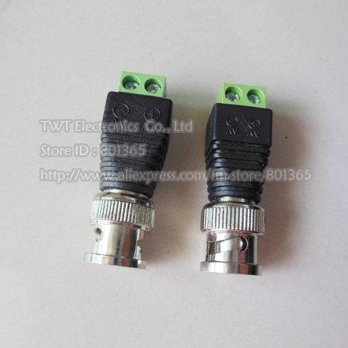 20 pcs BNC Male Plug To Terminal Block , Coax CAT5 To Camera CCTV BNC Video Balun Connector,Free shipping