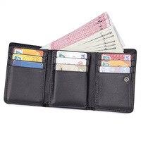bdd38a30377 Nesitu Dad Vertical 3 Fold RFID Blocking Black Genuine Leather Men Wallets  Coin Pocket Man Purse
