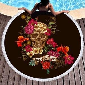 Image 4 - Boho Beach Towels Printed Sugar Skull Flower Round Microfiber Beach Towel For Adults Summer Large Bath Towel Picnic Yoga Blanket