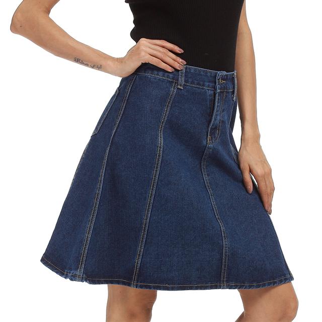 5xl 4xl nova primavera 2017 de algodão azul denim saia um line as mulheres saia vintage saia na altura do joelho das senhoras plus size roupas das mulheres