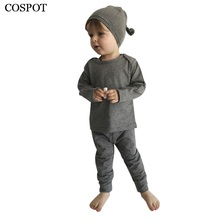 COSPOT Newborn Clothing Sets Infant 3 Pcs Sets T Shirt +Pants+Hats Baby Boys Autumn Plain Color Gray Clothing Set 2017 New 30C