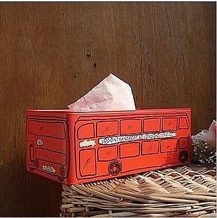 Vintage Home Decor Zakka Inglaterra Londres Bus Caja de tejidos Caja - Organización y almacenamiento en la casa