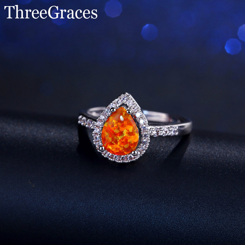 Fashion 3 Color Choice Round Inlay Cubic Zirconia Cute Water Drop White Orange Blue Fire Opal Ring For Women Party Jewelry RG044