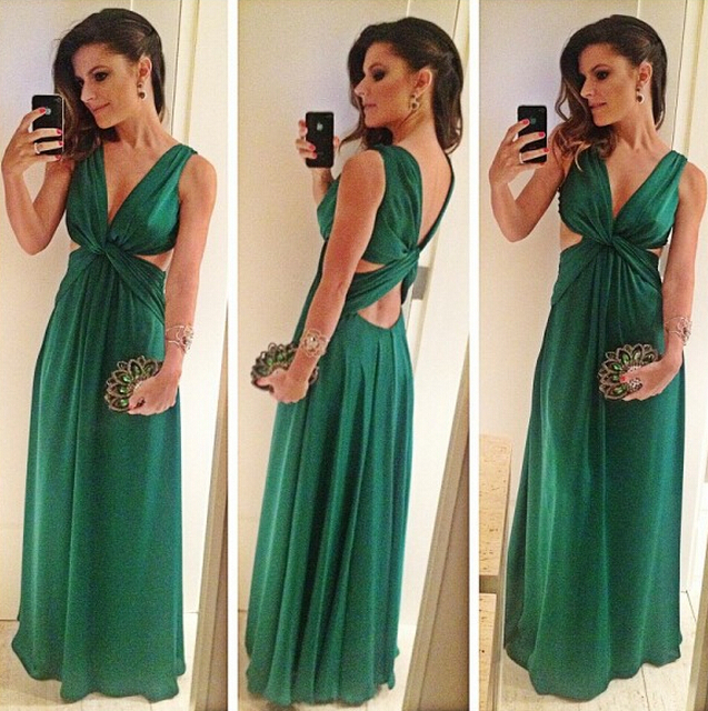 Vestido De Festa Longo 2018 Emerald Green Formal Evening Gown Sexy V-Neck Chiffon Robe De Soiree Mother Of The Bride Dresses