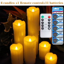 6 pieces/lot remote control include batteries LED candles pillar scented bougie Candle home Wedding Decoration