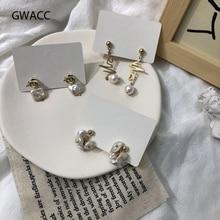 GWACC Heart Pearl Drop Earrings For Women Matte Gold Color Geometric Irregular Knot Freshwater Jewelry