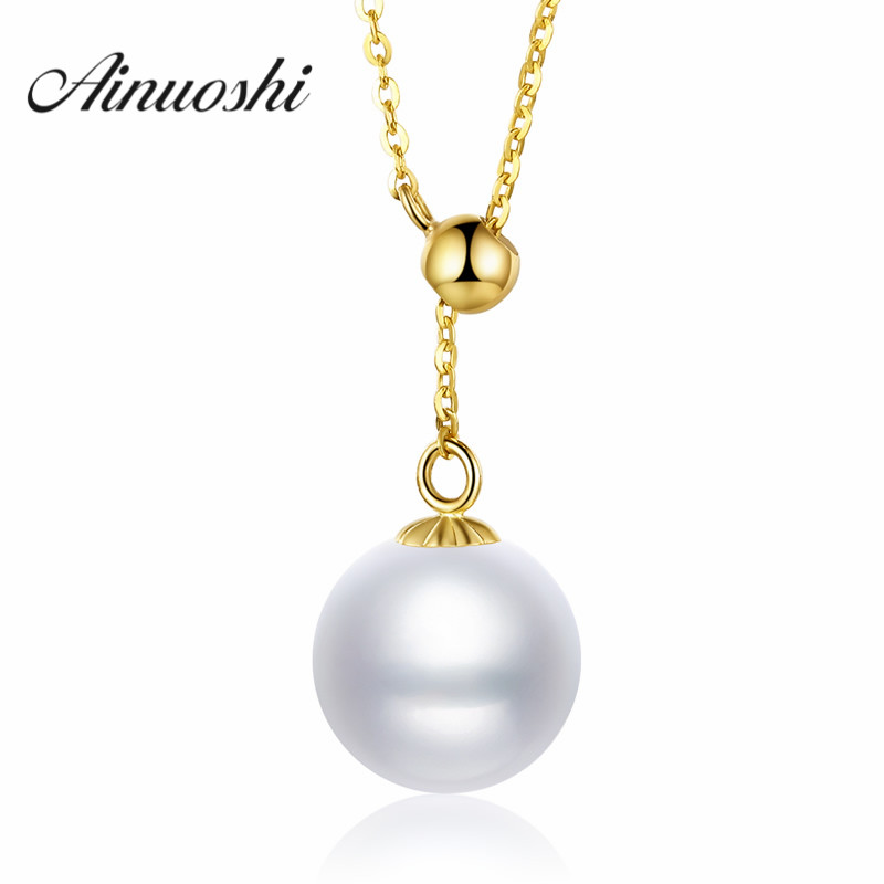 AINUOSHI 18K Yellow Gold Natural Cultured Freshwater Pearl Necklace Women Wedding Engagement 18k Pure Gold Chain Link Jewelry ainuoshi 18k yellow gold natural cultured freshwater pearl moon pendant woman wedding 5 5 6mm aaaaa pearl engagement lover chain