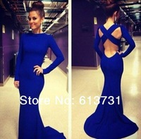 2014 Sexy robe de soiree High Neck Long Sleeve Criss Cross Backless Royal Blue Evening Gown Sexy Mermaid Prom Dresses BO5960