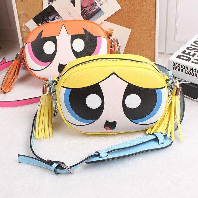 Powerpuff Girls mignon design de mode et de bonne qualité chaîne d'épaule sac messenger sac à rabat dames sac à main d'embrayage sac à main 3 couleurs