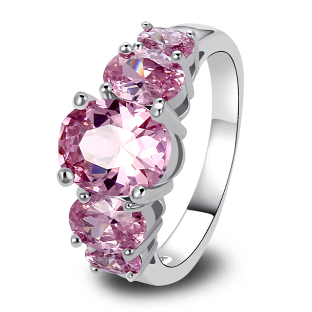 Fashion Jewelry 925 Silver Ring Pink CZ OVAL Exquisite Gift For Women's Fashion R Size  7 8 9 Wedding Ring