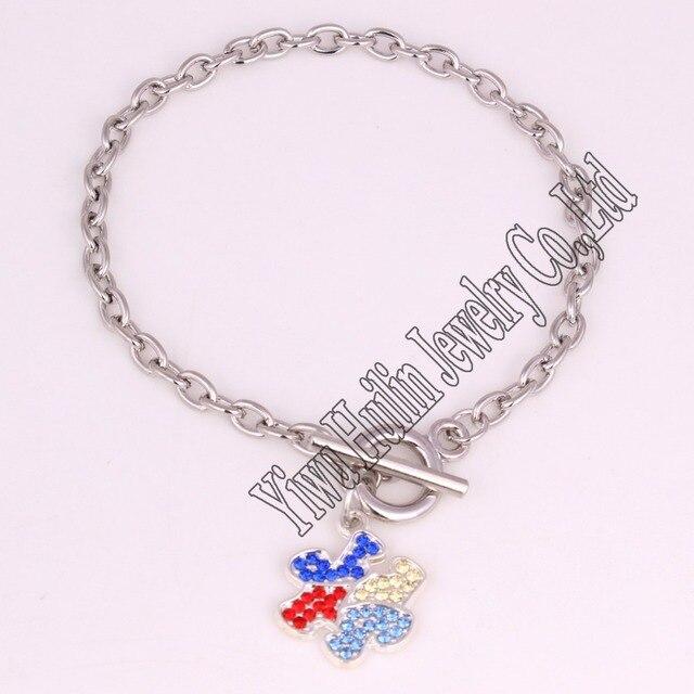 Rhodium Plated Autism Awareness Puzzle Piece Charm Bracelet