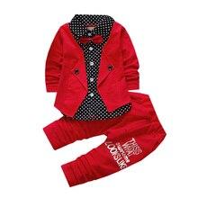 Одежда для мальчиков, Костюм Джентльмена, Vestidos, комплект из 2 предметов, куртка с длинными рукавами и штаны, украшенная галстуком-бабочкой, качественная одежда для детей 1-4 лет, лидер продаж