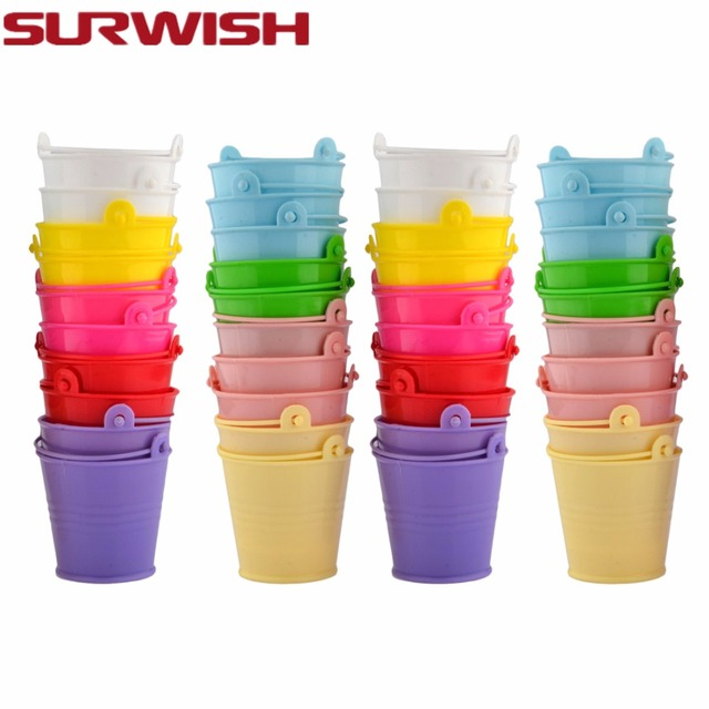 SURWISH 40pcs Mini Buckets Candy Box Birthday Party Decoration Baby Shower Gift Boxes Wedding Party Halloween Christmas Supplies