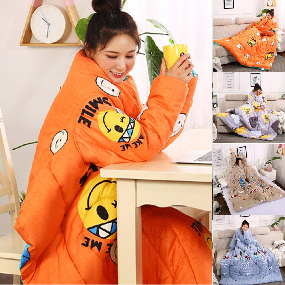 Winter Lazy Quilt With Sleeves Home Bedding Comforter Printed Edredom Keep Warm Duvet Filling Family Blanket Cape Cloak