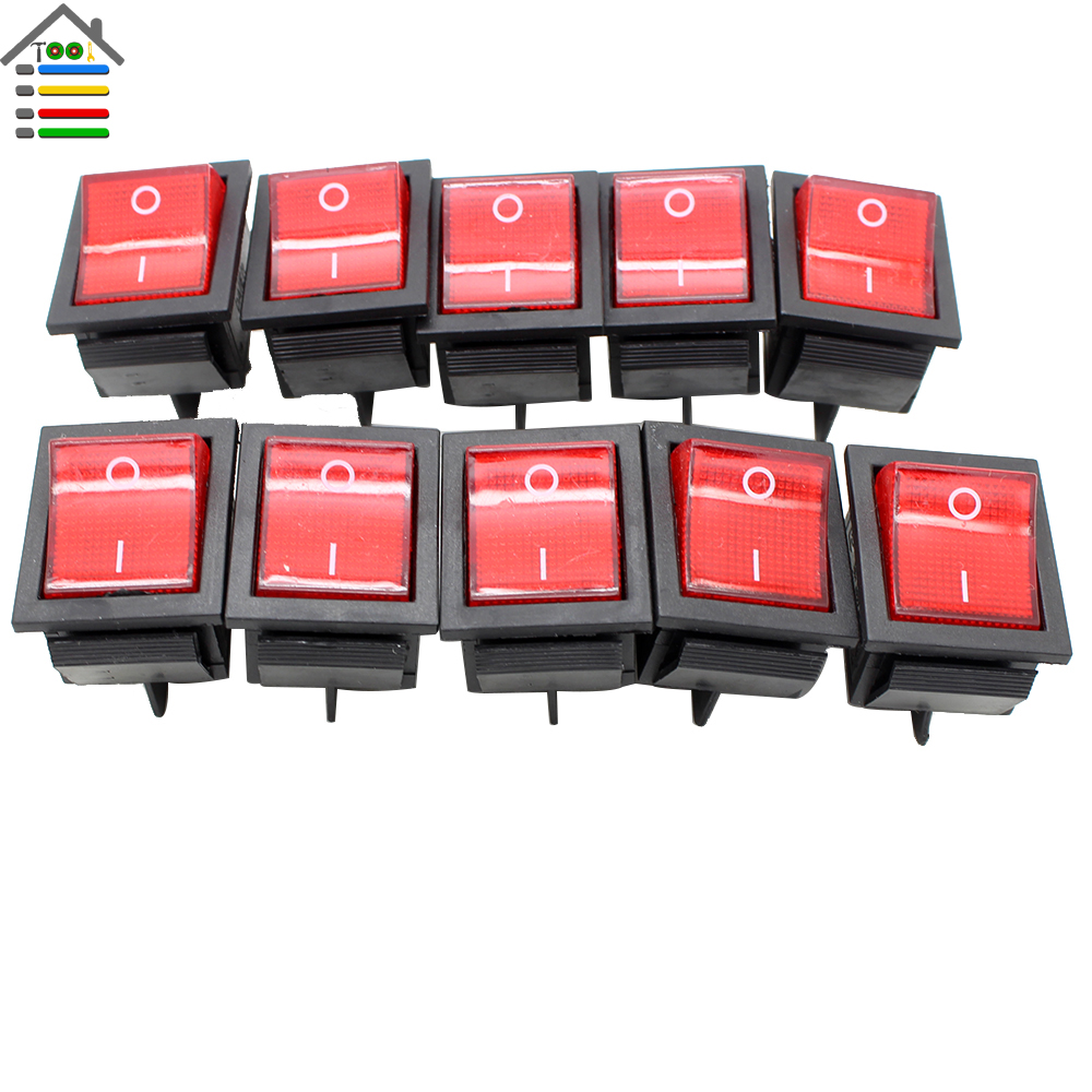 New 10Pc RED 16A(MAX 250V) LED Dot Light Car Boat Round Rocker ON/OFF SPST Switch 4 Pins Toggle Button Switch 4pcs car 220v round rocker dot boat led light toggle switch spst on off top sales electric controls