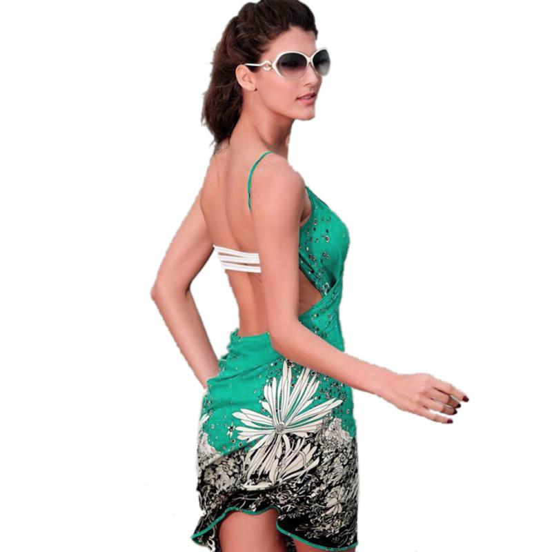 17 New Hot Women Beach Dress Sexy Sling Beach Wear Dress Sarong Bikini Cover-ups Wrap Pareo Skirts Towel Open-Back Swimwear 7