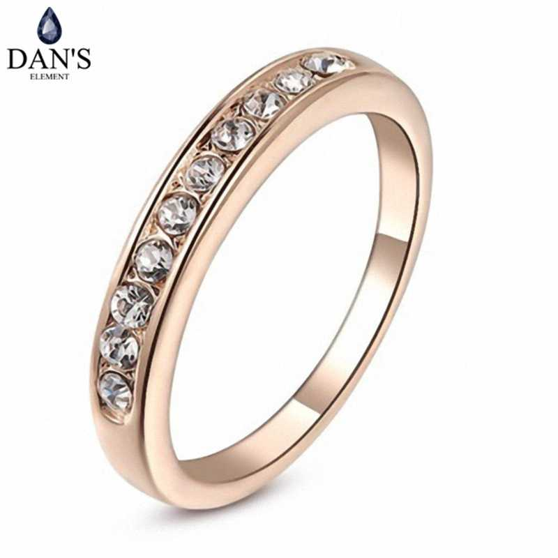 DAN'S ELEMENT Fashion Classic Copper Gold Color Zirconia Austrian Crystals  Wedding Rings for Women Full Sizes Fi-RG91645