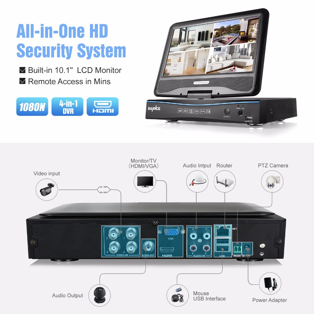 SANNCE 720P Surveillance System 4-Kanal-DVR mit integriertem - Schutz und Sicherheit - Foto 4