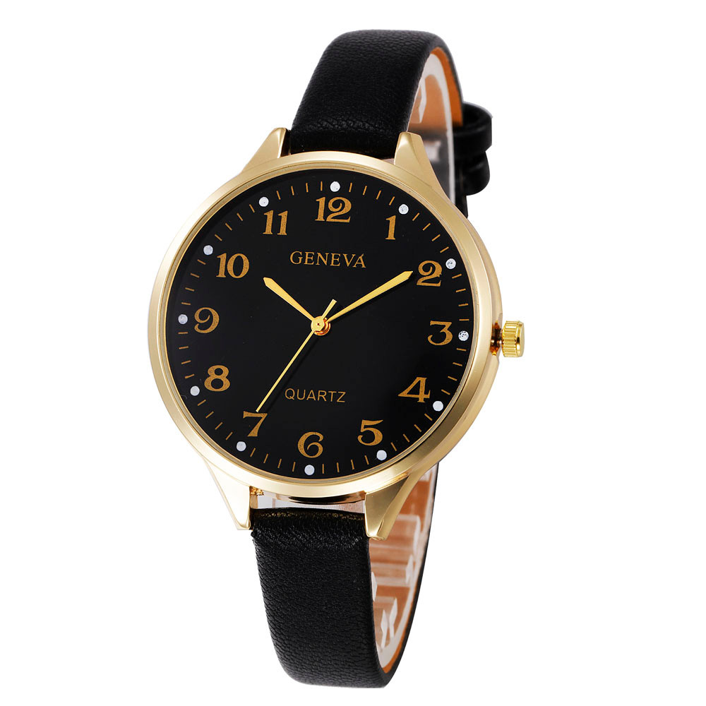 2018 Women Casual Checkers Faux Leather Quartz Analog Wrist Watch Geneva Quartz Watch Women Clock Reloj Mujer Elegant Bayan Kol