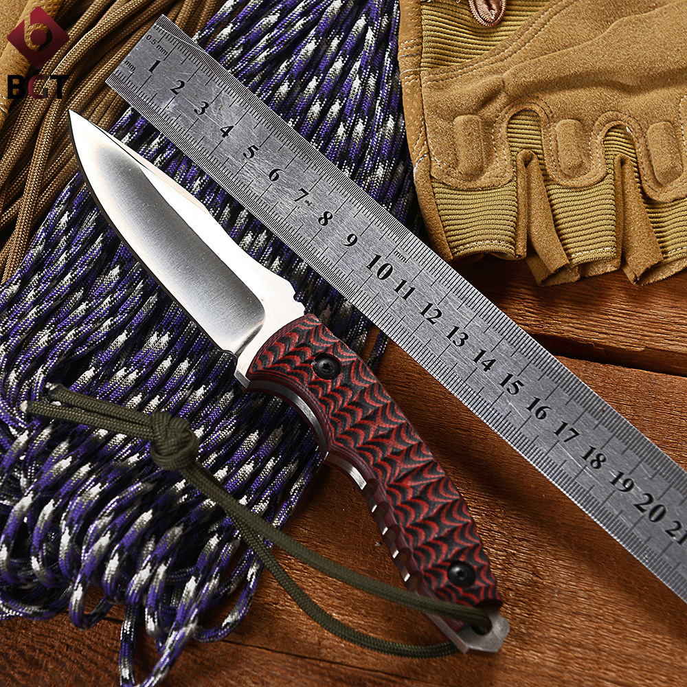 BGT Red G10 Handle Fixed Hunting Knife With D2 Blade Tactical Camping Combat EDC Straight Knives Utility Survival Pocket Tools