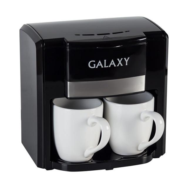 Кофеварка Galaxy GL 0708 ЧЕРНАЯ (Объем 0.3 л, мощность 750 Вт, съемный фильтр, 2 керамические чашки и мерная ложка в комплекте)