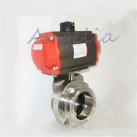 2 Sanitary Stainless 304 Tri Clamp Silicone Pneumatic Butterfly Valve