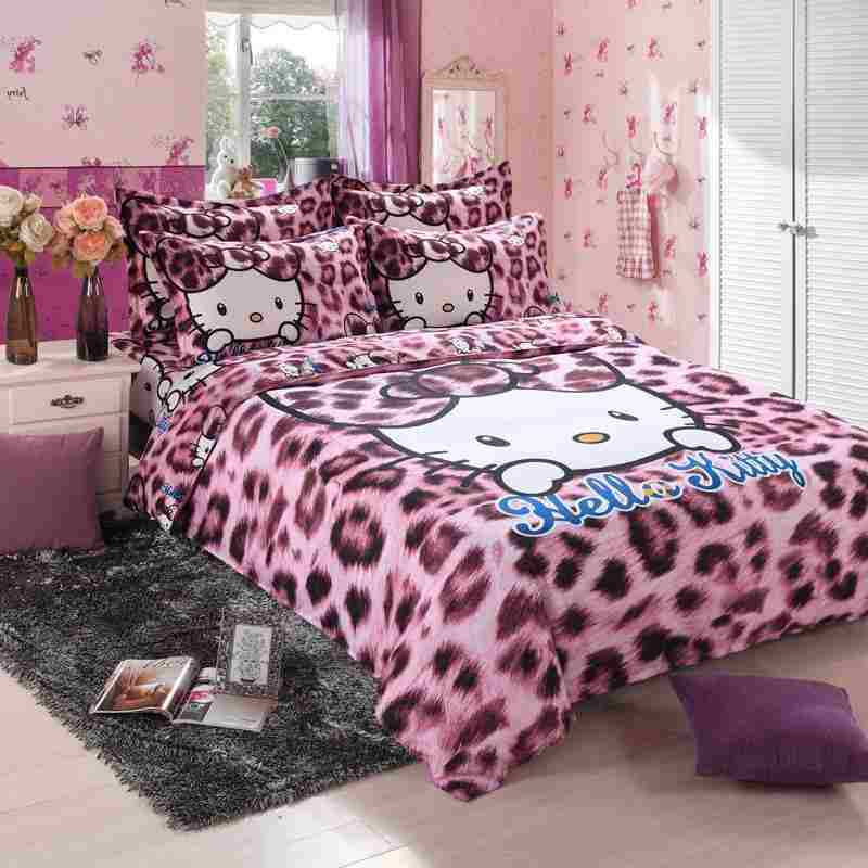 Online Shop Free Fast Shipping NEW Fashion Luxury Leopard Hello Kitty 3D  Cotton Print Bedding Sets Duvet Cover Bed Sheet Queen   Aliexpress Mobile