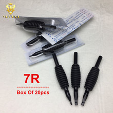 20pcs 7RT Disposable Tattoo Grip Tube 25mm Black Round Tube R7 Supply BDG25-7R#