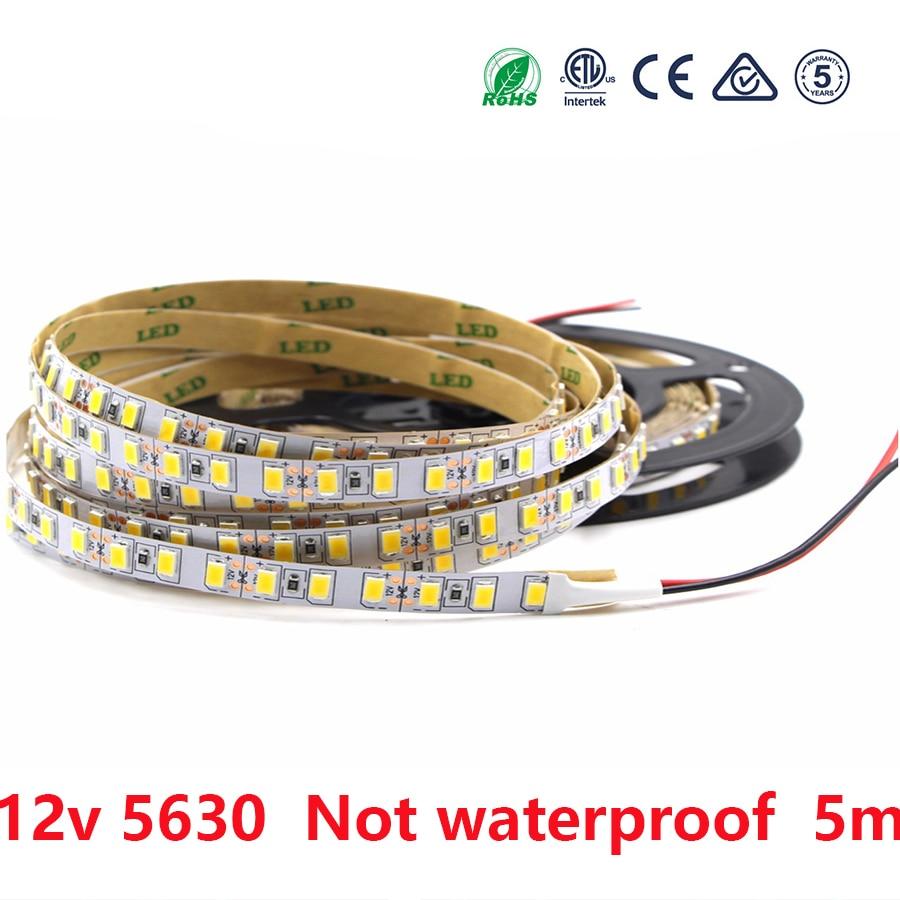 Led Strip Light 12 V Smd 5630 300led 5m 12 V Warm White Not Waterproof Led Lights Strip Tape Lamp Diode Ribbon Flexible Decor
