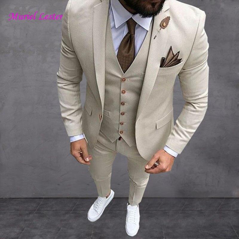 Men Custom Blazer Terno Masuclino Latest Coat Pant Designs Beige Men Suit Prom Tuxedo Slim Fit 3 Piece Groom Wedding Suits