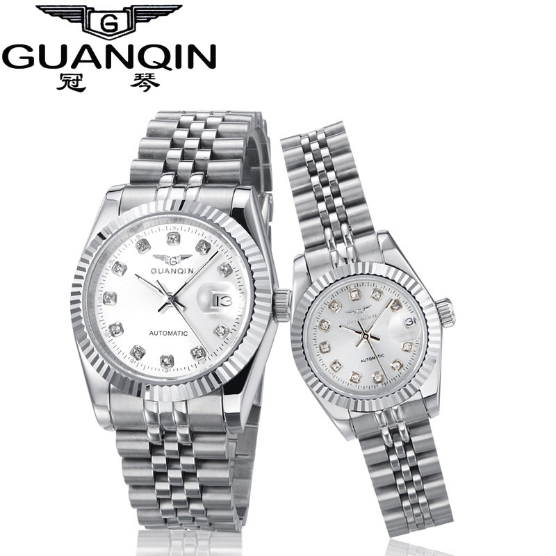 GUANQIN Lovers' Watches Luxury Couples Watch Man Women Pair Clocks Rhinestones Gold Date Mechanical Watch Hardlex Waterproof NEW
