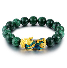 High Quality Natural Green Stone Golden Pixiu Charm Bracelet Men