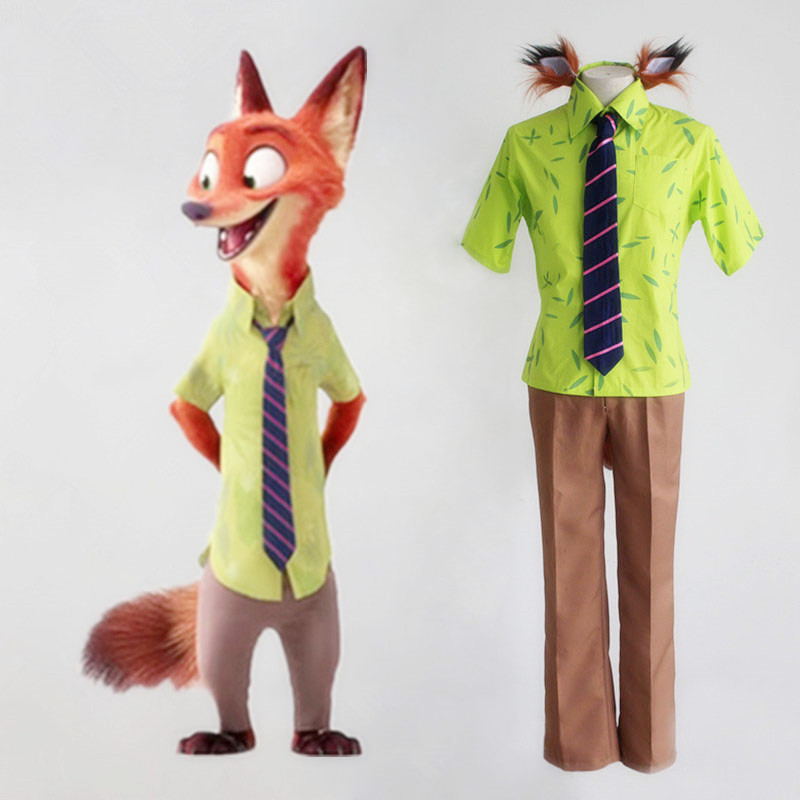 Movie Zootopia Cosplay Nick Wilde Fox Cosplay Costume Full Set Uniform Shirt Pants Tie Tail Ears Halloween Costumes