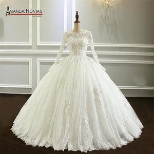 Image 1 - Amanda Novias vestido de noiva Long Sleeve Lace Wedding Dress New