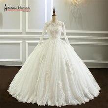 Amanda Novias vestido de noiva uzun kollu dantel düğün elbisesi yeni