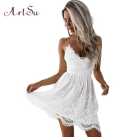 ArtSu 2017 Sexy Spaghetti Strap Lace Dress 2017 Summer Women Dresses Beach Sundress Party Vestidos Mujer