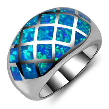 Hot Sale Exquisite Blue Fire Opal 925 Sterling Silver High Quantity Engagement Wedding Ring Size 5 6 7 8 9 10 11 A179