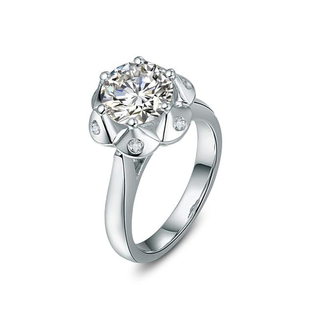 Flor de loto forma 3 quilate diamantes plata pura genuina anillo de oro  blanco para siempre fb5668ba052