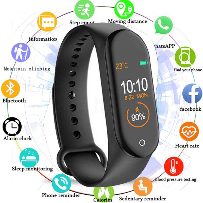 M4 Relógio Inteligente Homens Pulseira Pulseira De Fitness IP67 Pressão Arterial Relógio À Prova D' Água Esporte Reloj Inteligente Rastreador Atividade