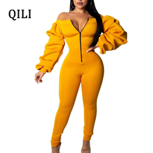 QILI Plus Size Hot Sale Jumpsuits Women Off The Shoulder Zipper Pleated Sleeve Bodycon Jumpsuit Black Blue Yellow Casual Overall