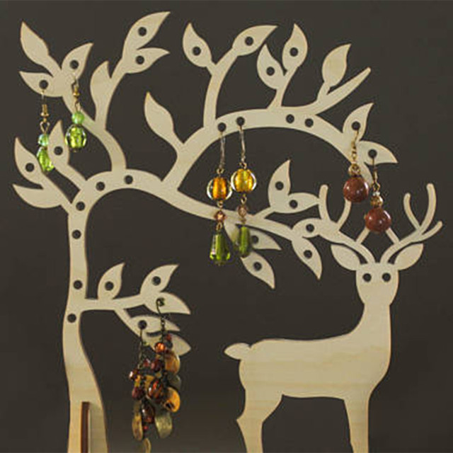 Laser Cut Wood Deer Jewelry Storage Tree Earring Holder Jewellery