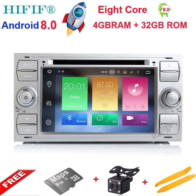 HIFIF Android 8.0 2Din 7 Inch Car DVD Player For Ford/Focus/Mondeo/Kuga 8 Cores 4GB RAM 32G ROM 3G/4G Wifi GPS Navigation Radio