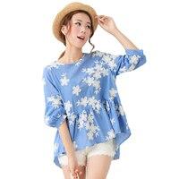 2016 New Fashion Spring Summer Japanese Casual Embroidered Blusas Ruffles Kimono Doll Style Blouse Shirt Coat