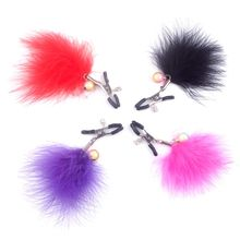 1Pair Feather Plumage Nipple Clamps Shaking Stimulate Clip Overcast Breast Sex Toys For Women