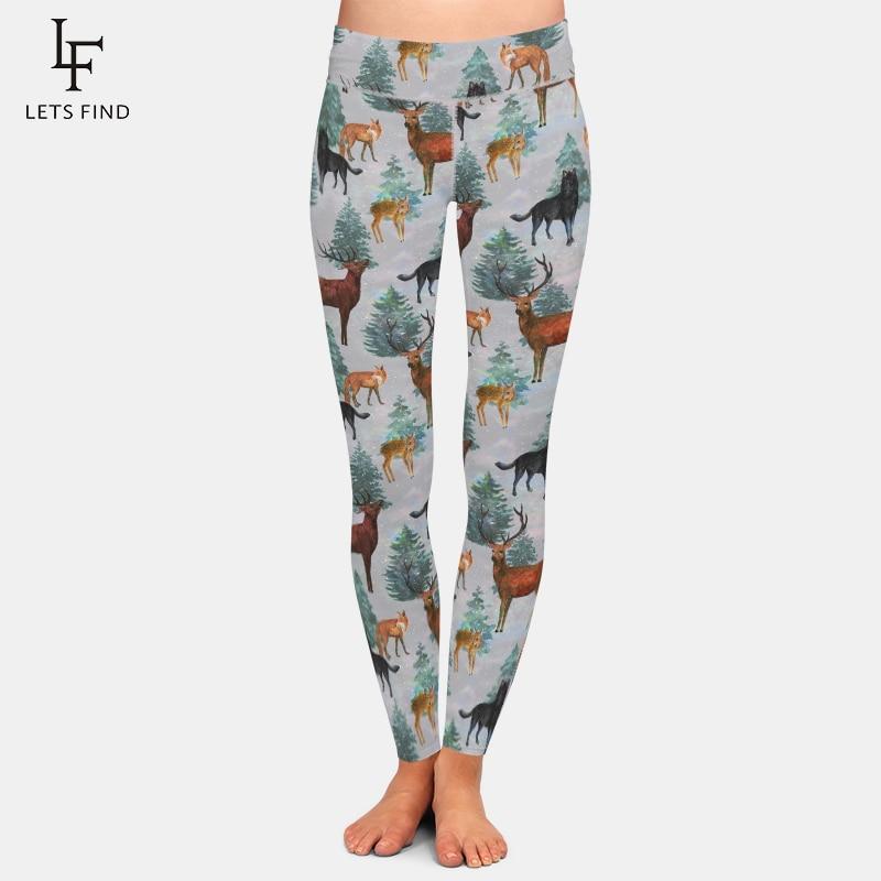 LETSFIND New Design Women Elastic   Leggings   High Waist 3D Animals Milu Deer&fox&dog Print Milk Silk Trousers Movement   Leggings