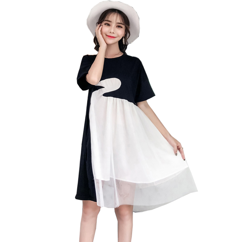 Mother & Kids Korean White Swan Pattern Stitched Voile Dress Short Sleeve Cute Maternity Plus Size Clothing Top Dresses
