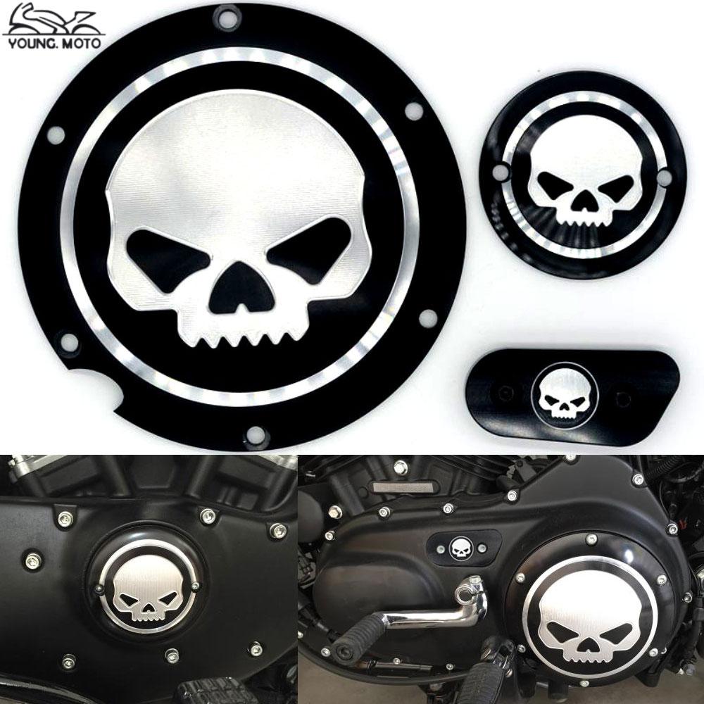 Prix pour Noir Moto Crâne Carter De Distribution Calendrier Accessoires Derby Minuterie Couverture Pour Harley Davidson Sportster Fer XL 883 1200 04-14