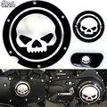 Preto Do Crânio Da Motocicleta Cobrir Timing Timing Acessórios Derby Ferro Temporizador Capa Para Harley Davidson Sportster XL 883 1200 04-14