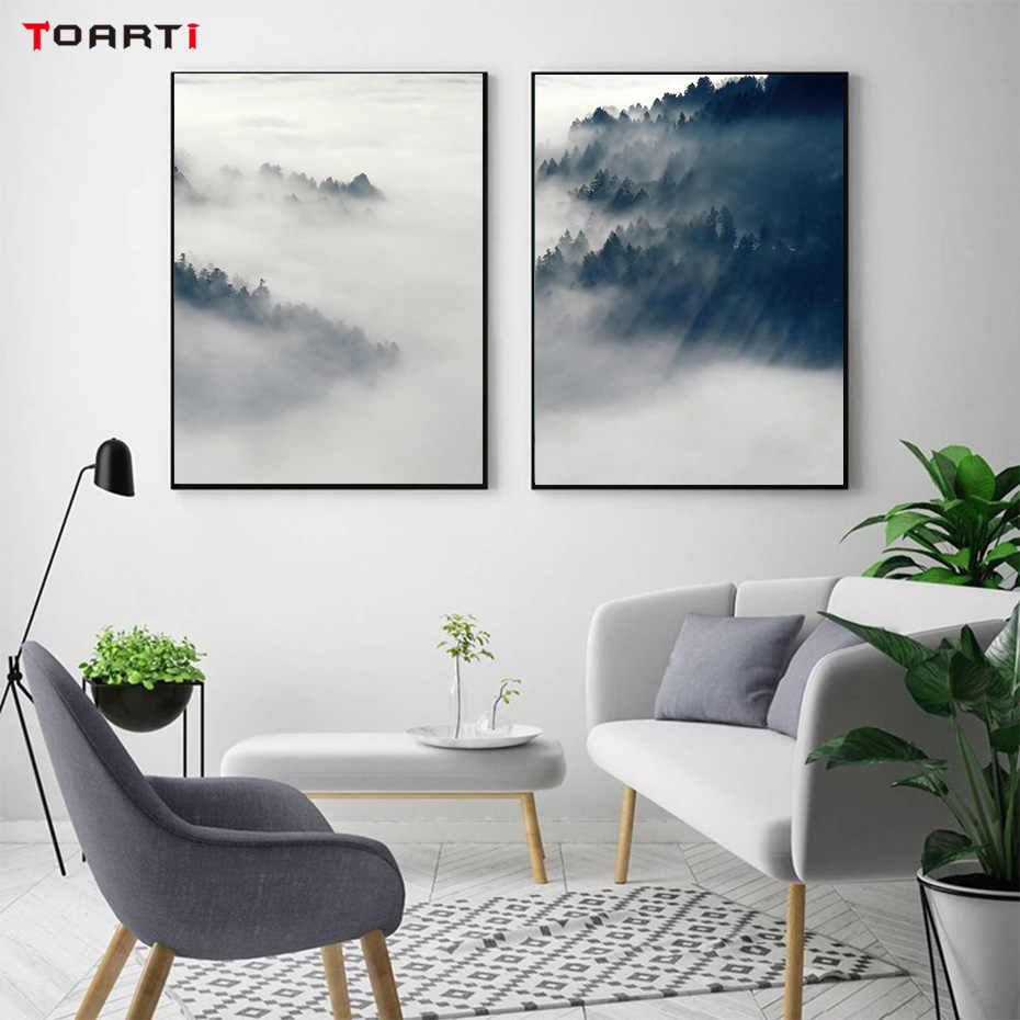 Nordic Mountain Landscape Prints And Posters Canvas Painting On The Wall Charming Wall Art Pictures For Living Room Home Decor