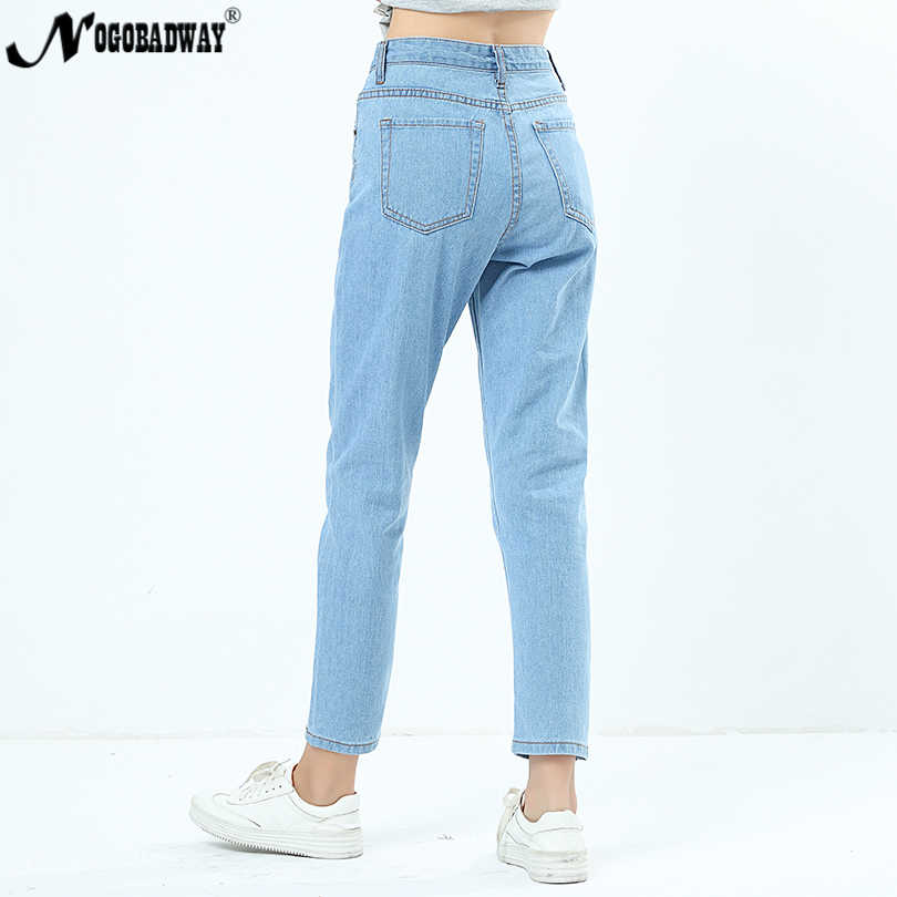c17b66ba46bb Mid Waist Boyfriend Jeans For Women Straight Casual Denim Pants Washed Blue  Jeans Trousers Woman Ladies